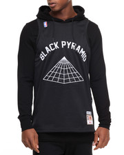 Men - Black Pyramid Jersey - Layered Pullover Hoodie