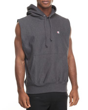 Men - Sleeveless Reverse Weave Pullover Hoodie