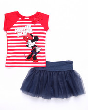 Girls - 2 PC SET - STRIPED MINNIE TEE & TUTU SKIRT (2T-4T)