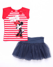 Sizes 4-6x - Kids - 2 PC SET - STRIPED MINNIE TEE & TUTU SKIRT (4-6X)
