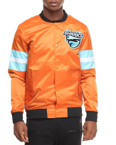 Black Pyramid Men B P Sharks Nylon Team Bomber Jacket Orange X-Large