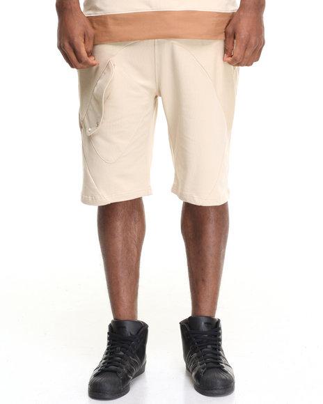 Hudson Nyc Men Technical Fleece Shorts Beige Small