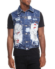 Men - Distressed Denim Vest