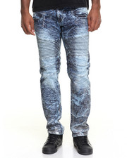 Men - Acid Crinkle Moto - Style Denim Jeans
