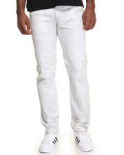 Men - Silver Foil Moto - Style Denim Jeans