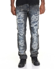 Men - Black Spray Rip - And - Repair Denim Jeans