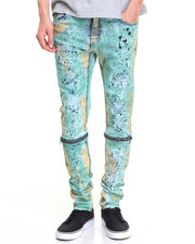 Jeans & Pants - CAMO TINT HAND - PAINTED ZIPPER DENIM JEANS