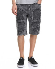 Men - Ribbed Panel & Patch Denim Short