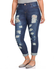 Fashion Lab - Destructed Roll Cuff Boyfriend Jean
