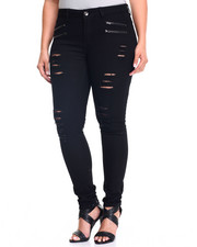 Fashion Lab - Rips Zip Trim Skinny Jean