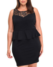 Plus Size - Peplum w/ Lace Overlay Dress (Plus)