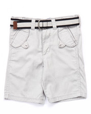 Bottoms - BELTED HERRINGBONE TWILL SHORTS (4-7)