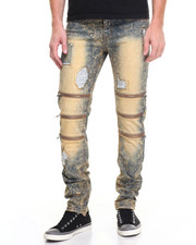 Jeans - Ripped Denim Jeans w Zip Trio Detail