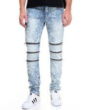 Men - Ripped Denim Jeans w Zip Trio Detail