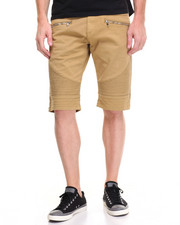 Men - Biker Twill Shorts w Zipper