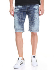 Shorts - Embossed Biker Denim Short