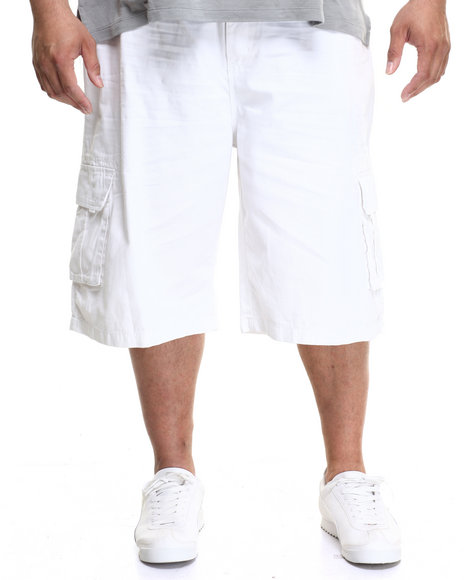 Enyce Men Belted Twill Cargo Short (B&T) White 44