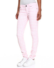 Bottoms - Houndstooth Print Skinny Jean