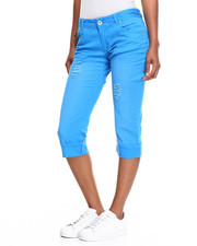 Women - Destructed 5 Pocket Roll-Up Capri