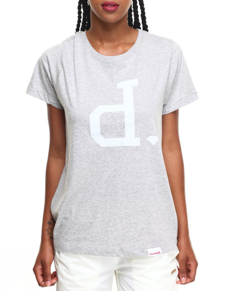 Diamond Supply Co Women Tonal Un Polo Tee Grey Large