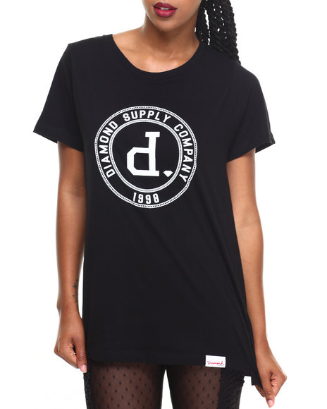 Diamond Supply Co Women College Seal Tee Black Medium