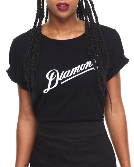 Diamond Supply Co Women Diamond Athletic Tee Black Large