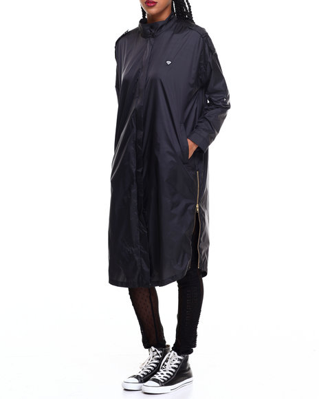 Diamond Supply Co Women Radiant Trench Coat Black Large