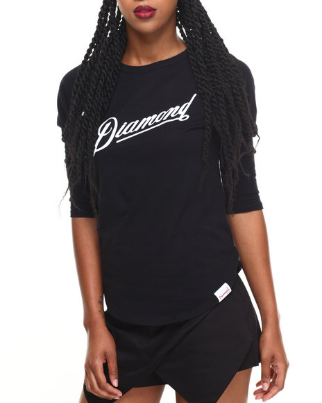 Diamond Supply Co Women Diamond Athletica Raglan Tee Black Medium