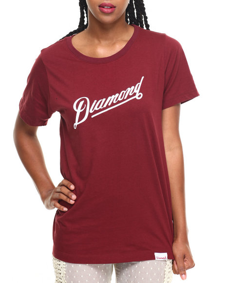 Diamond Supply Co Women Diamond Athletic Tee Maroon Large