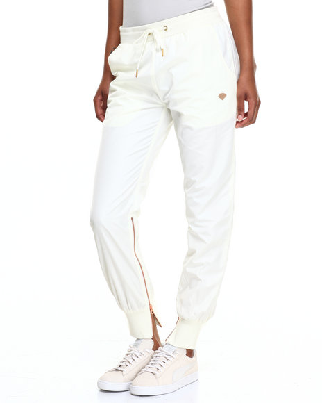 Diamond Supply Co Women Fair Warm Up Pants Off White Small