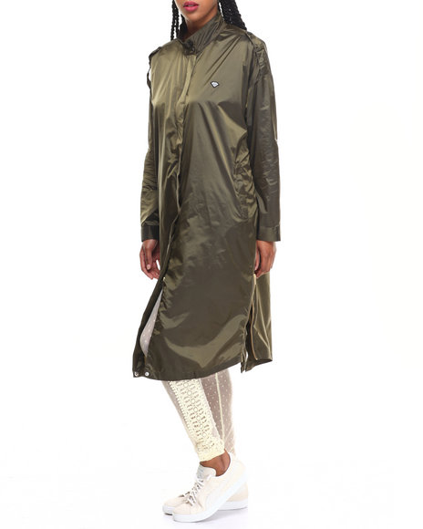 Diamond Supply Co Women Radiant Trench Coat Olive Large
