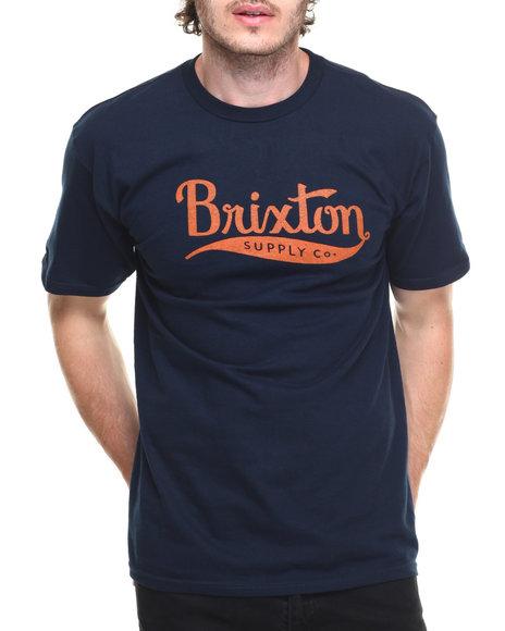 Brixton Men Gomez Standard Tee Navy Large