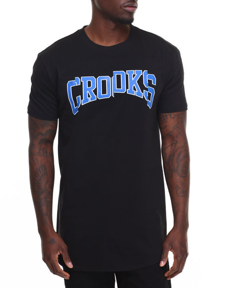 Crooks & Castles Men Slashed Core Logo Scallop T-Shirt Black 3X-Large