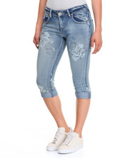 Bottoms - Flower Print Rolled Cuff Capri Jeans