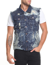 Men - Heavy Rip - And - Repair Moto Denim Vest
