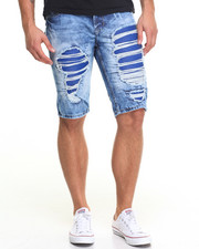 Men - Faux Leather Backed Rip - And - Repair Denim Shorts