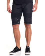 Men - Moto Coated Zipper - Trim Denim Shorts