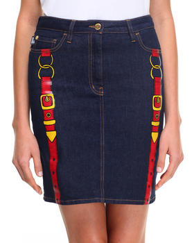 -FEATURES- - LOVE MOSCHINO BUCKLE DENIM SKIRT