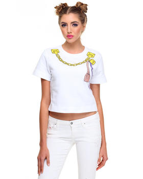 Tops - LOVE MOSCHINO TAGS CROPPED TEE