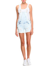 Bottoms - Destructed Stretch Denim Roll-up Shortall