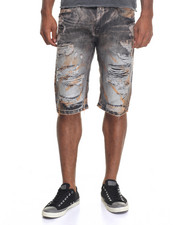 Men - Colored Rip - And - Repair Denim Shorts