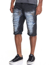 Men - Sprayed Rip - And - Tear Denim Shorts