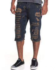Men - Heavy Destructed Rip - And - Tear Denim Shorts
