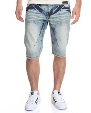 Men - RAW EDGE CUFFED SANDBLASTED DENIM SHORTS