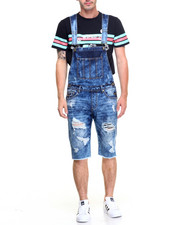 Jeans & Pants - RAW EDGE CUFFED DENIM OVERALL SHORTS