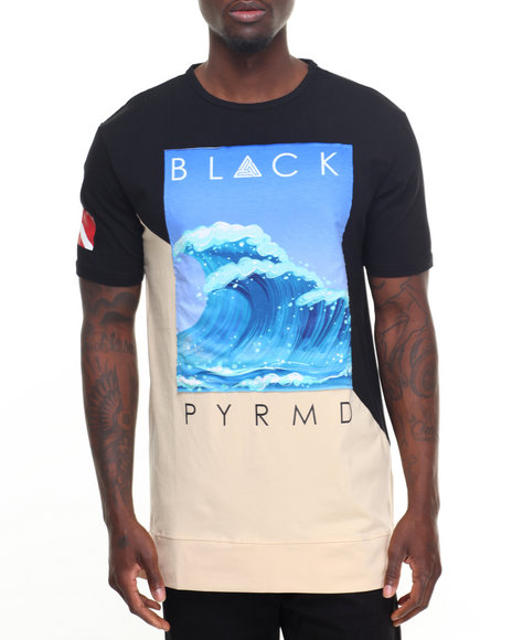 Buy slanted panel wave s s tee men 39 s shirts from black for Black pyramid t shirts for sale