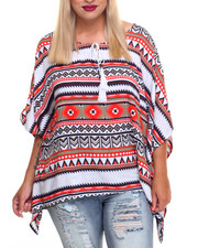 Fashion Lab - Aztec Print Poncho Top (Plus)