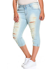 Women - Shredded Rips Distress Wash Stretch Sknny Capri (Plus)