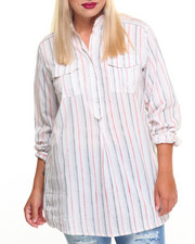 Tops - Stripe Woven Tunic Top (Plus)