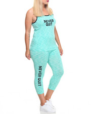 Sets - Never Quit Printed Tank Top And Capri Set (plus)